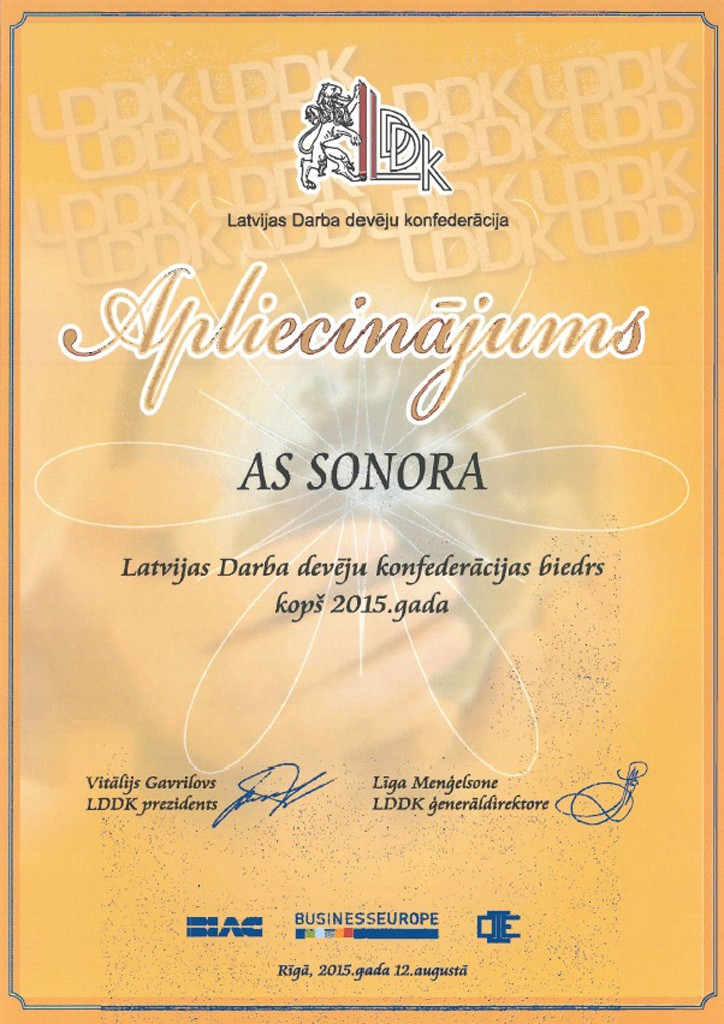 LDDK sertificat