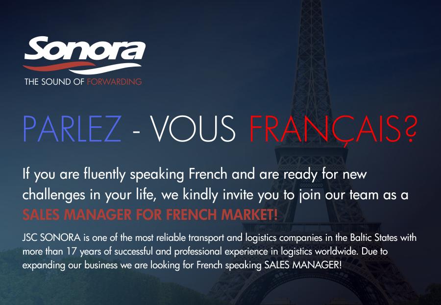 Новая вакансия: Менеджер по продажам со знанием французского языка