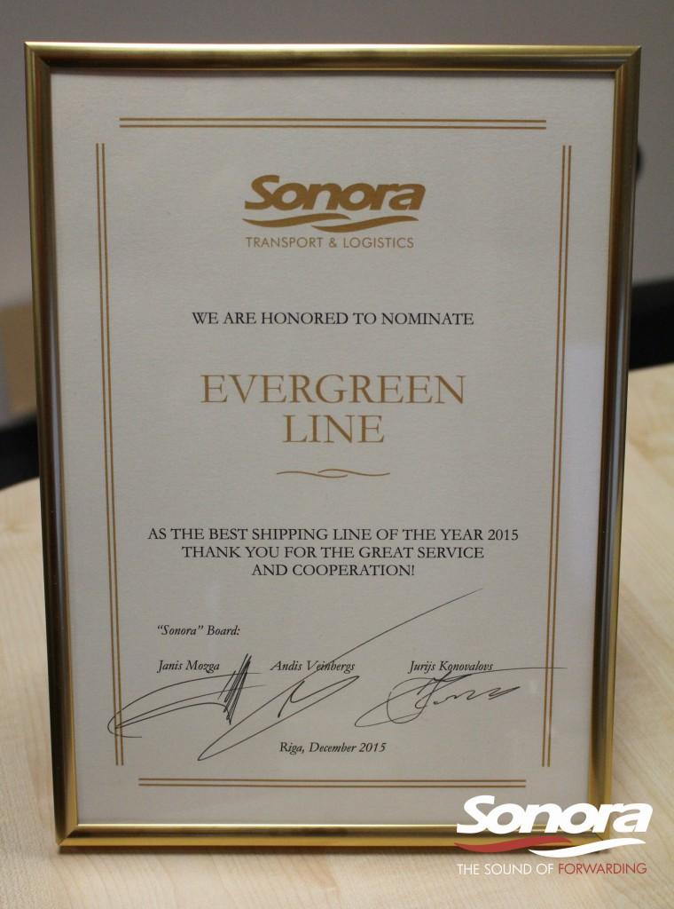 Gada jūras līnija 2015 - uzņēmums Evergreen