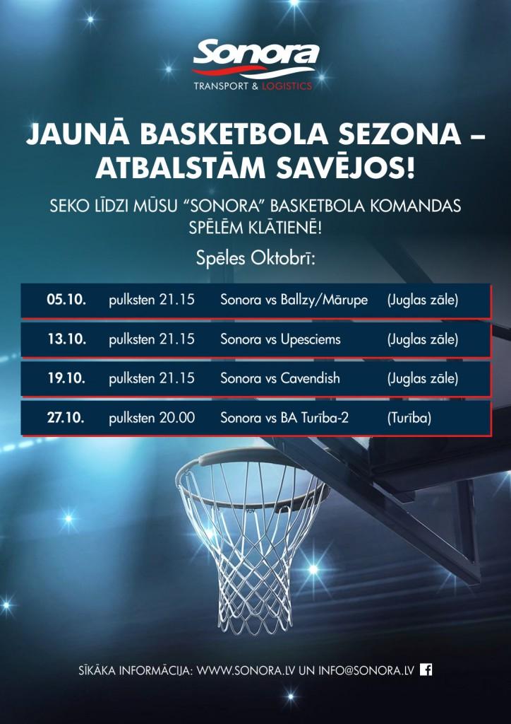 Sonora Basketbola komanda. Spēļu grafiks Oktobrī